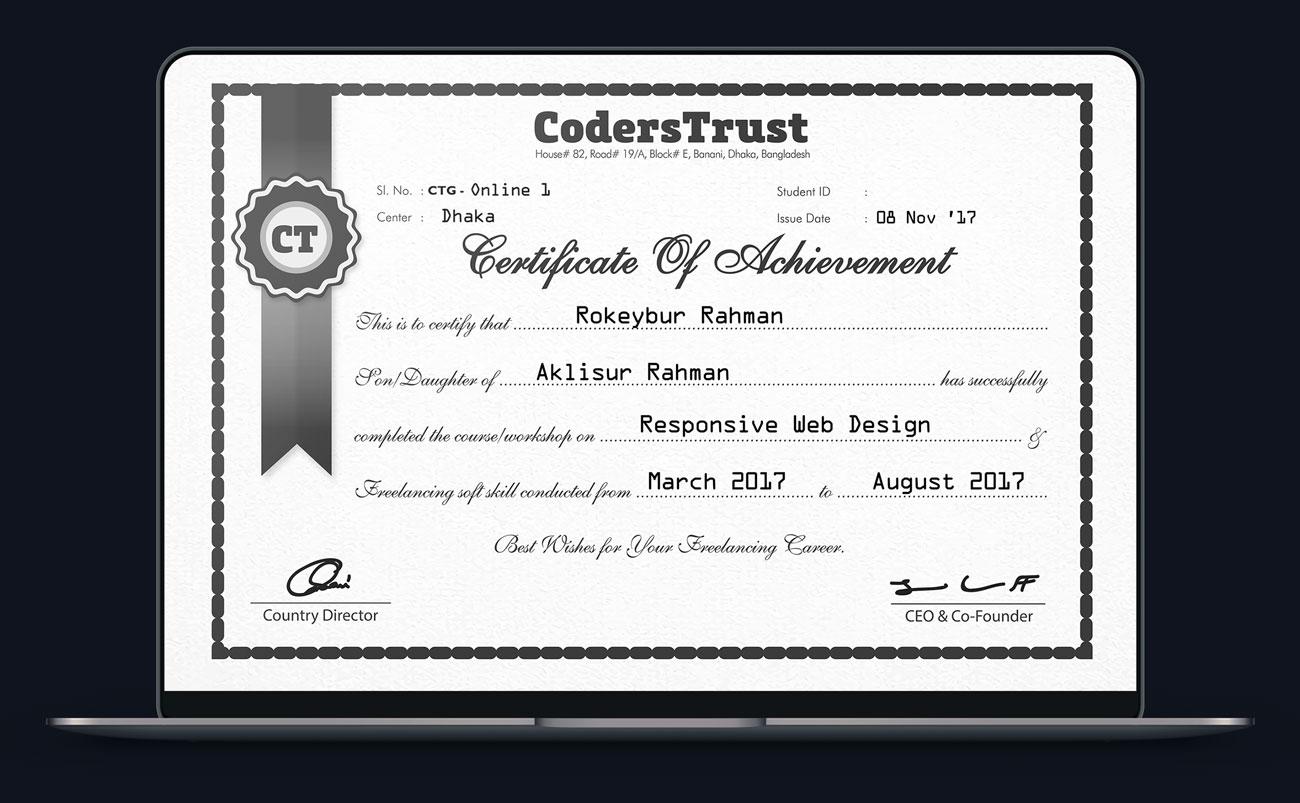 Certified web developer from coderstrust