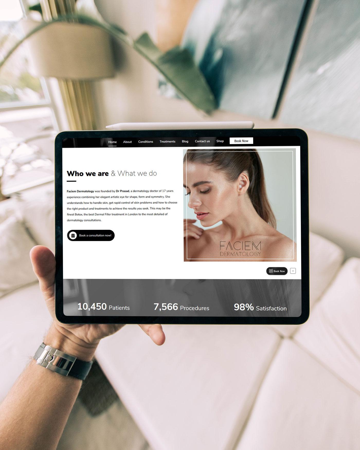 skin dermatology website design
